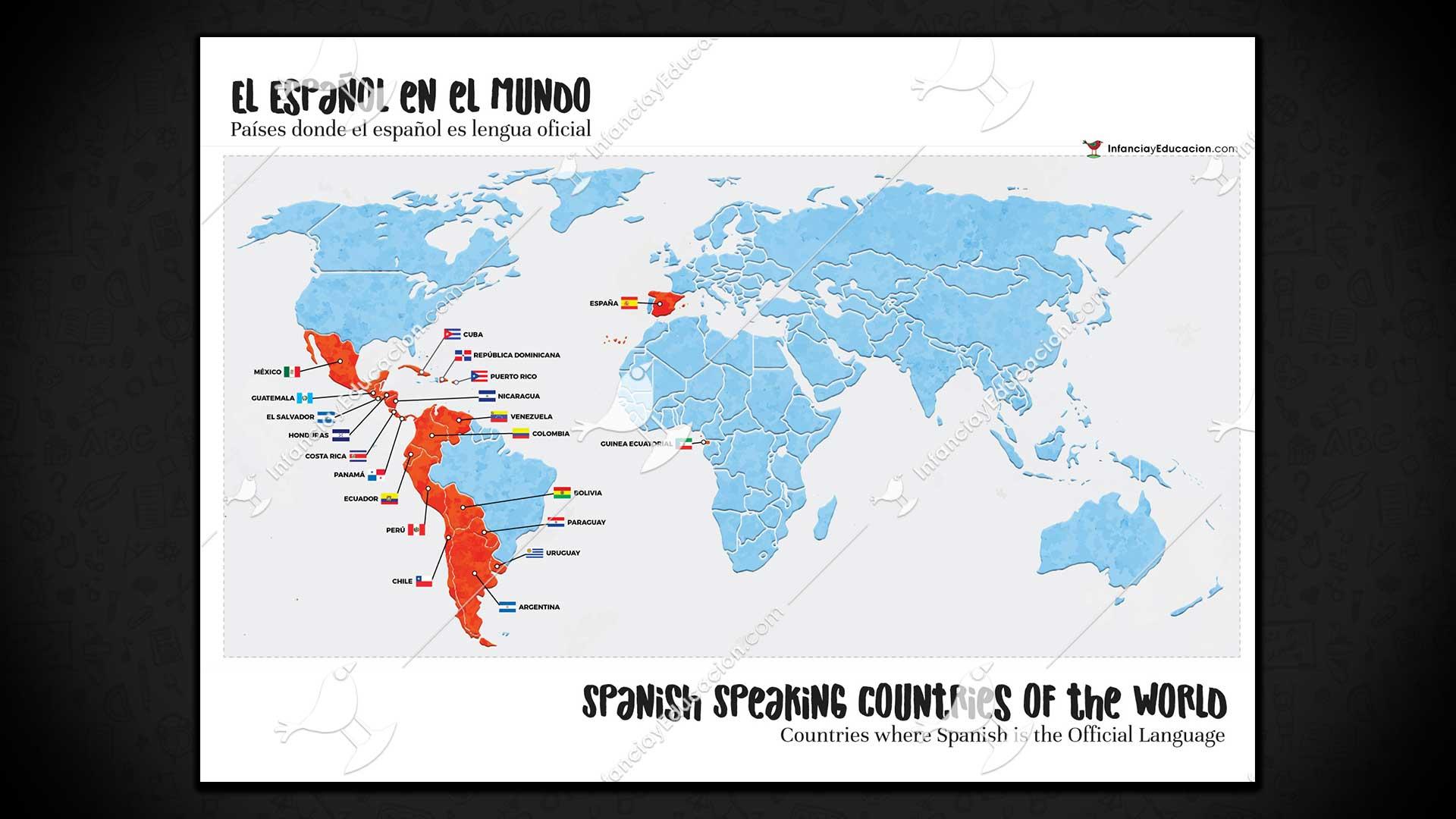 Mapa Del Mundo Paises Hd.Mapa De Los Paises Hispanohablantes Spanish Speaking Countries Map