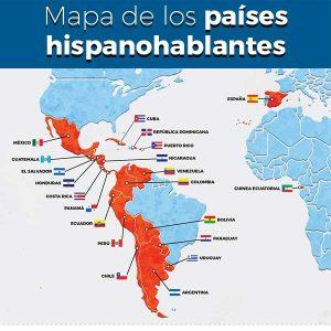 Mapa de los países hispanohablantes