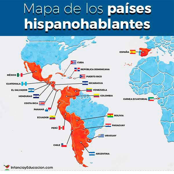 Mapa De Los Paises.Mapa De Los Paises Hispanohablantes Spanish Speaking Countries Map